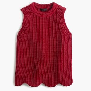 Jcrew chunky scalloped sweater tank medium red
